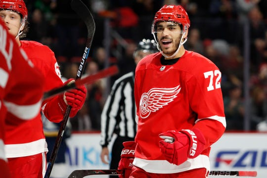 Detroit Red Wings center Andreas Athanasiou celebrates after scoring during the second period against the St. Louis Blues at Little Caesars Arena, Nov. 28, 2018 in Detroit.