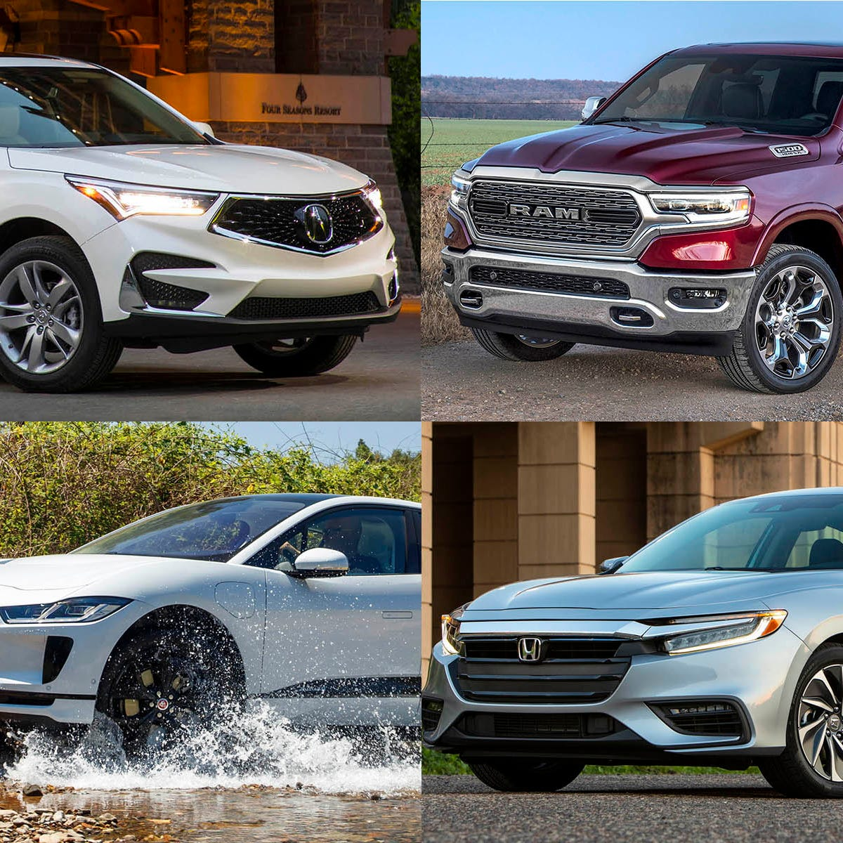 Clockwise from upper left, 2019 Acura RDX,  2019 Ram 1500,  2019 Honda Insight and the 2019 Jaguar I-Pace