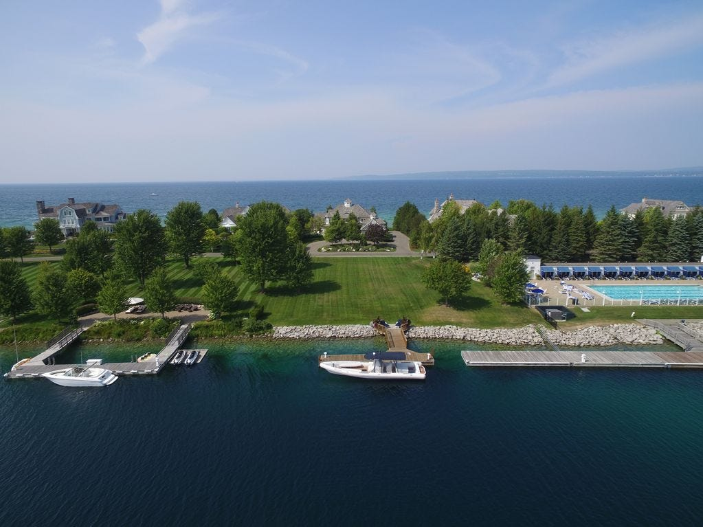 The nearby private dock that can accommodate a 120- foot yacht.