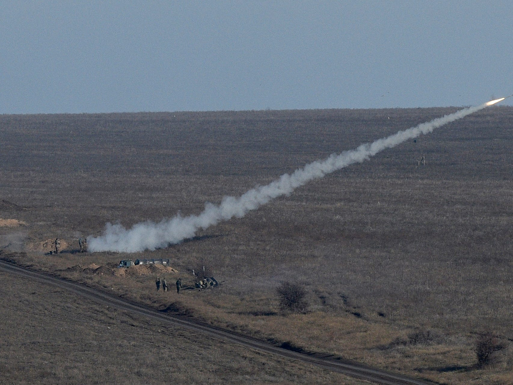 Ukrainian soldiers launch an anti-aircraft rocket during military exercises near Urzuf, south coast of Azov sea, eastern Ukraine, Thursday, Nov. 29, 2018. Ukraine put its military forces on high combat alert and announced martial law this week after Russian border guards fired on and seized three Ukrainian ships in the Black Sea.