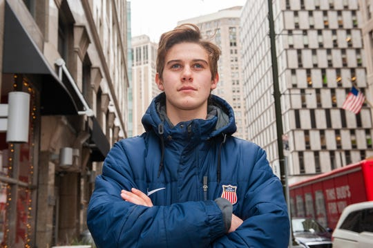 No. 1-rated NHL draft prospect Jack Hughes is pictured in downtown Detroit Wednesday. He plays with the U.S. National Under-18 Team, which trains in Plymouth.