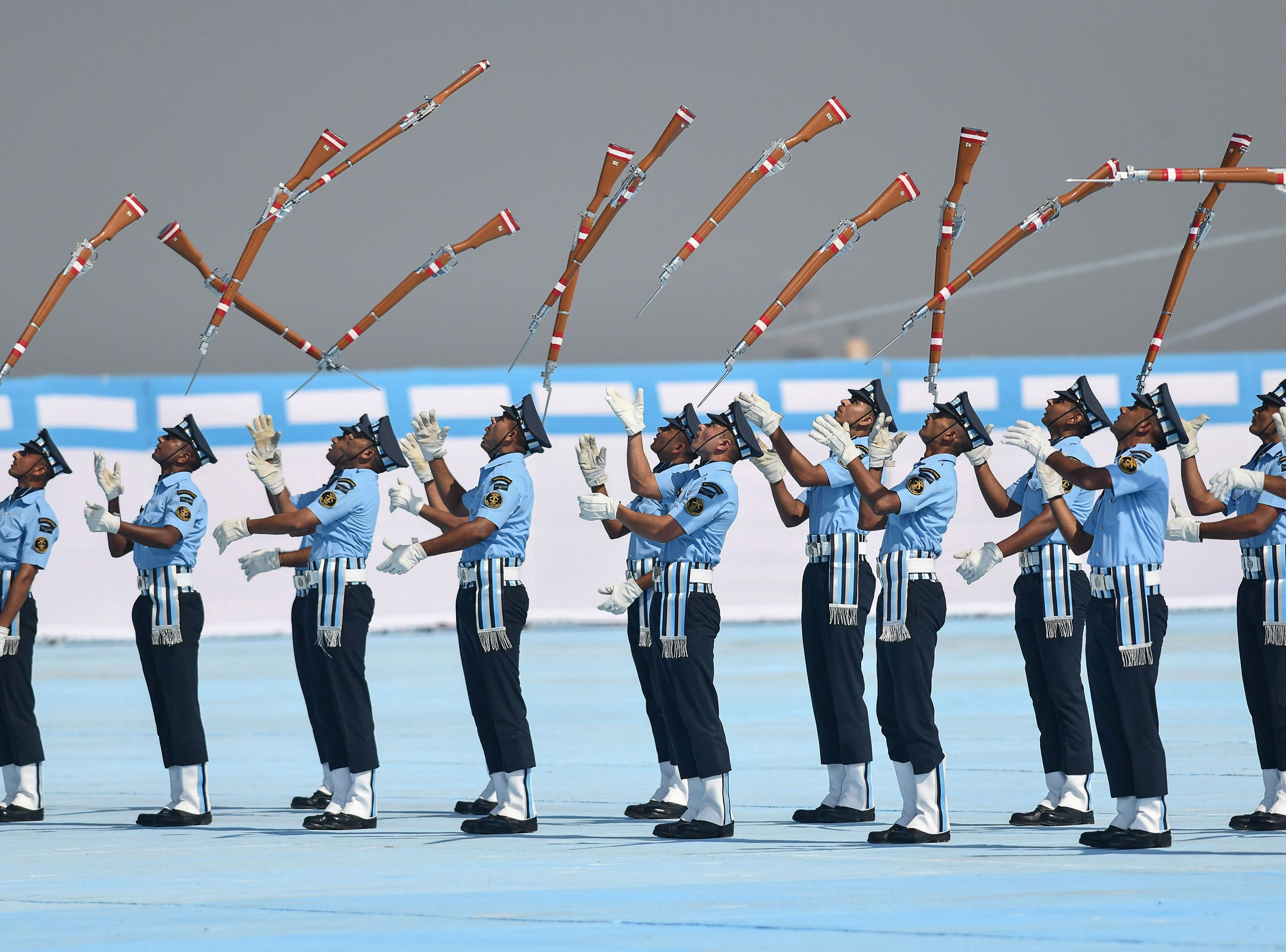 Indian Air Force recruits perform a drill during the presentation of the Indian President's Standards and Colours, by Indian President Ram Nath Kovind at Borjhar Air Force Station in Guwahati on November 29, 2018.
