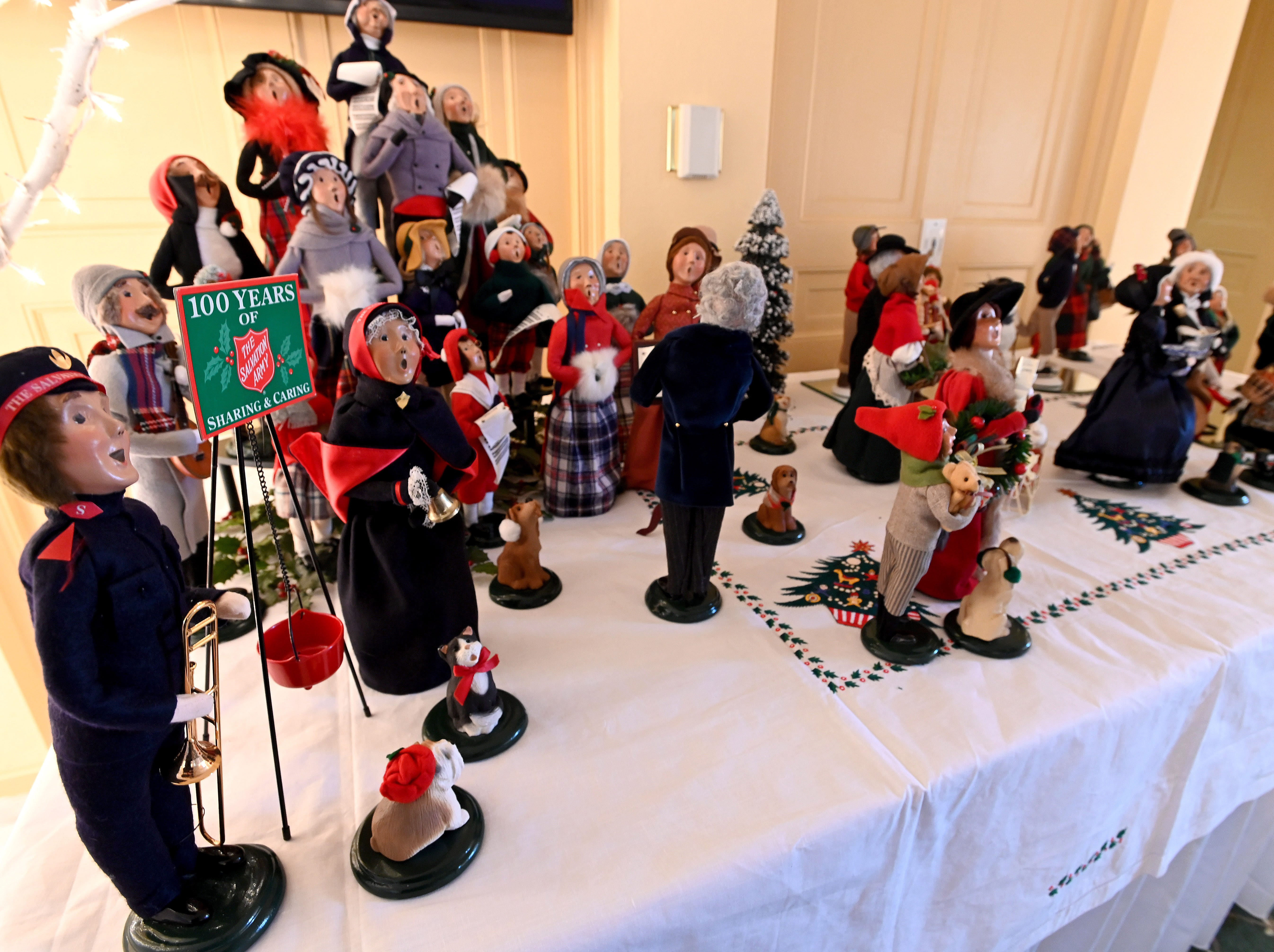 """A large collection of caroling figures are on display in the """"Ballroom"""" on the third floor."""