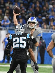 Lions quarterback Matthew Stafford's 90.8 passer rating is his lowest since 2014.