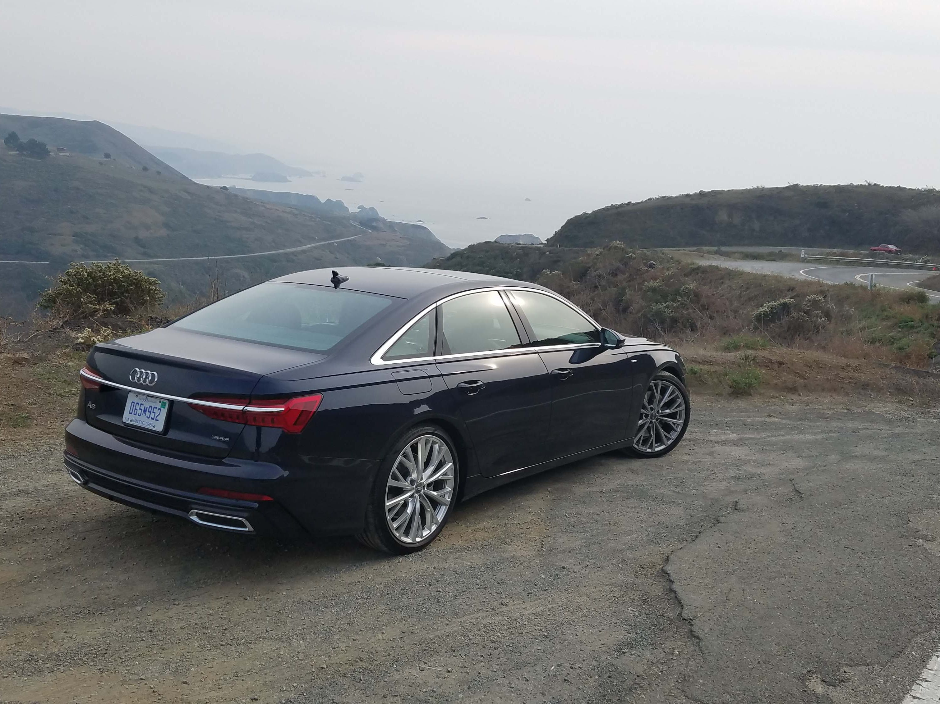 The Audi A6 shows off its conventional sedan caboose, while its A7 sibling gets a sporty hatchback. Both cars are surprisingly nimble on the spaghetti-noodle Pacific Coastal Highway north of San Francisco.