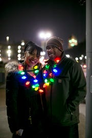 Stacy and Solomon Irby of Southfield on Cass Avenue during the 45th Annual Noel Night in Midtown Detroit in 2017.