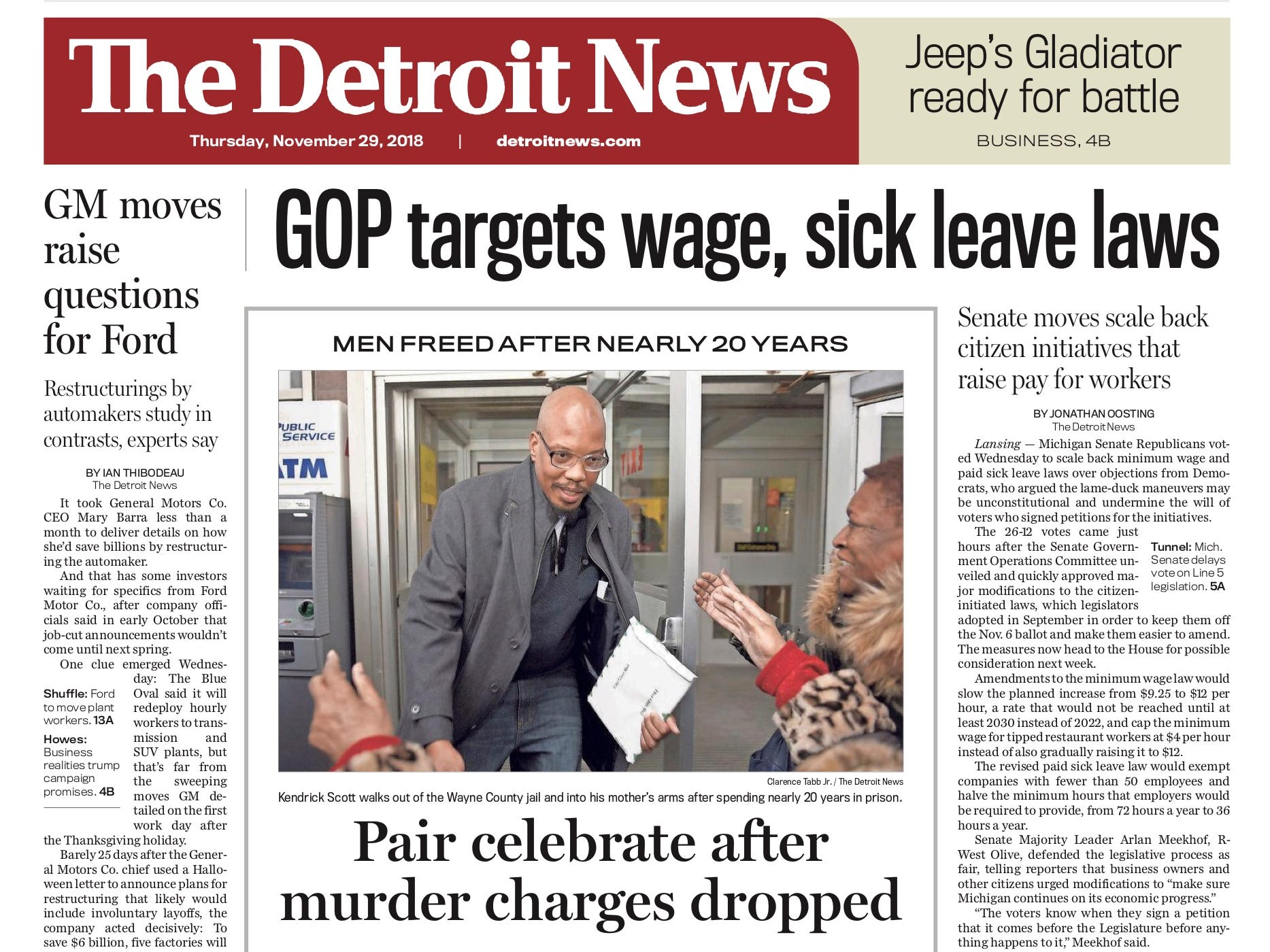 The front page of the Detroit News on November 29, 2018.
