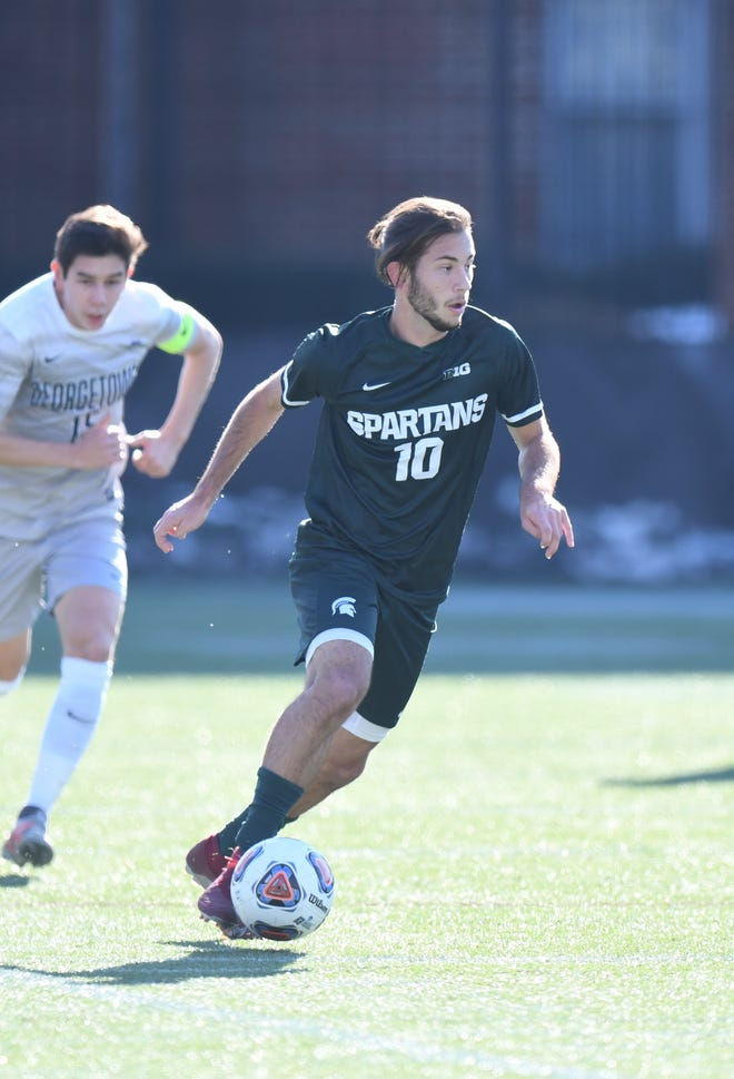 Giuseppe Barone, a junior midfielder, controls the ball during the Sweet 16 game against Georgetown. Michigan State won, 1-0.
