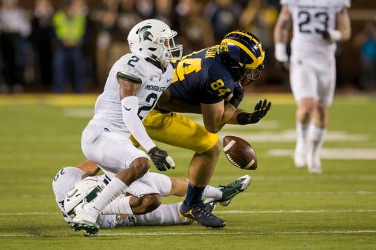 Michigan State cornerback Justin Layne (2) is moving up NFL Draft rankings.