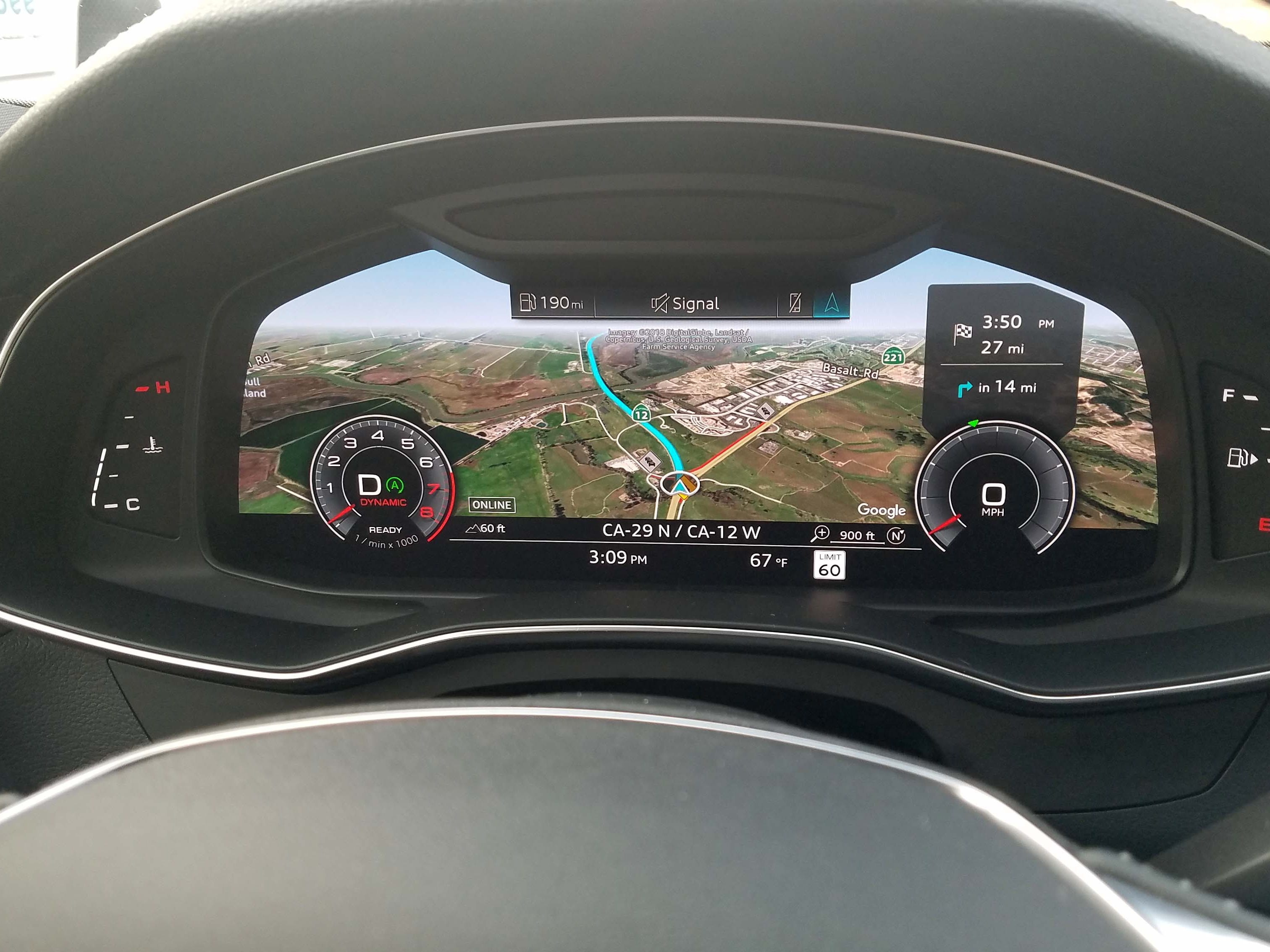 An Audi innovation, Virtual Cockpit uses Google Earth to bring dramatic navigation graphics while keeping the driver focused on the road ahead.