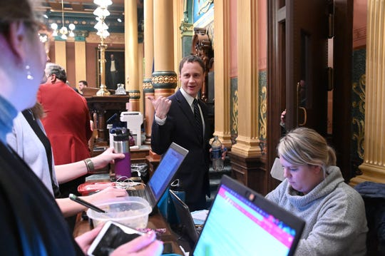"""Michigan speaker of the House Tom Leonard, R-DeWitt, jokes with reporters om the House Chambers recently, telling them they're wasting their time covering the House today, and asking """"What are they doing over on the other (Senate) side?"""" on November 27, 2018."""