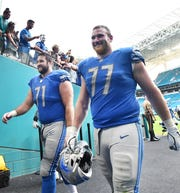 Lions offensive lineman Frank Ragnow (77) has had his ups and downs as a rookie.