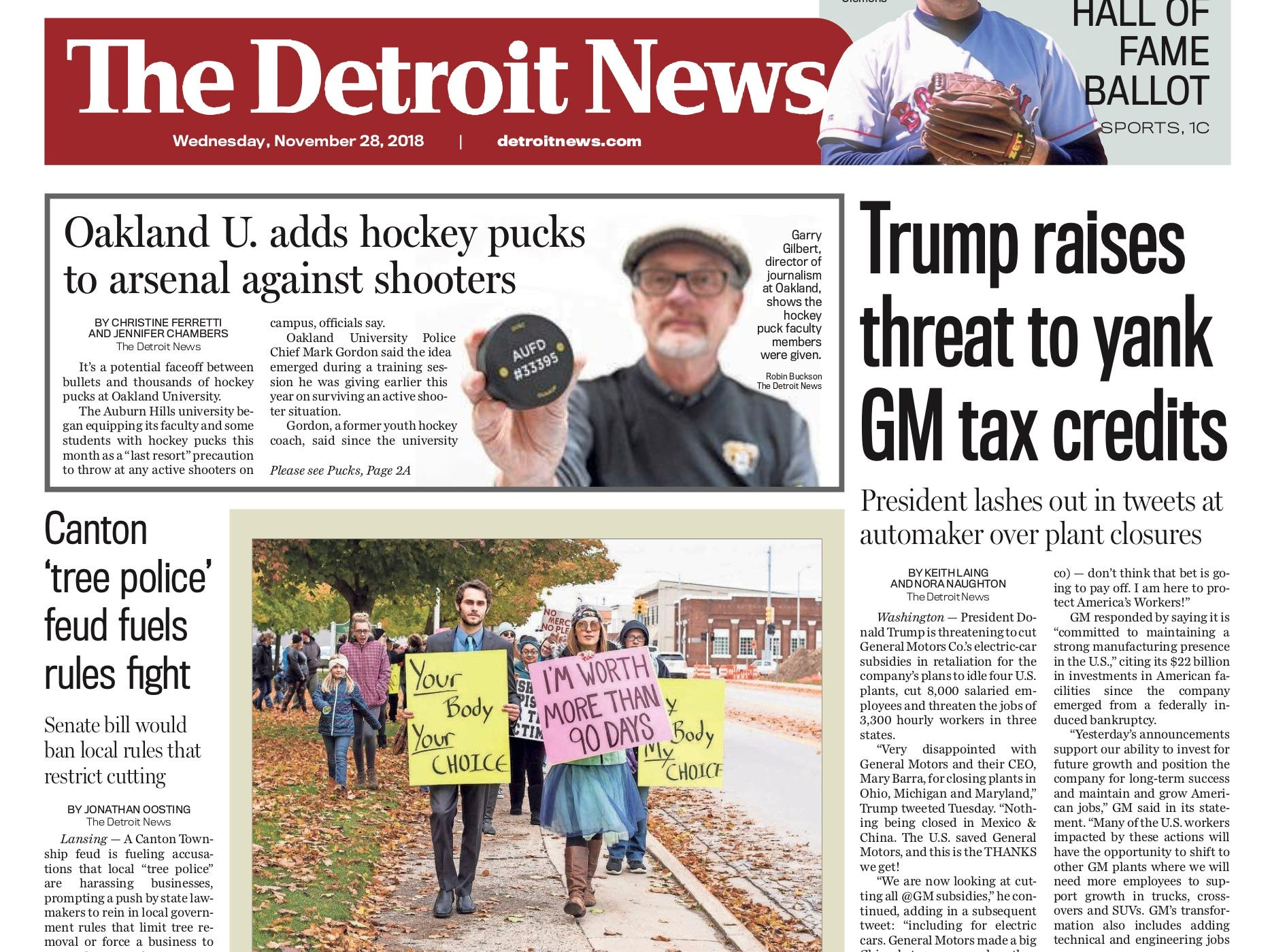 The front page of the Detroit News on November 28, 2018.