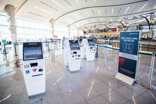 Delta Air Lines reveals their new biometric scanning technology at Hartsfield-Jackson International Airport in Atlanta, Ga. on Monday, Nov. 19, 2018.