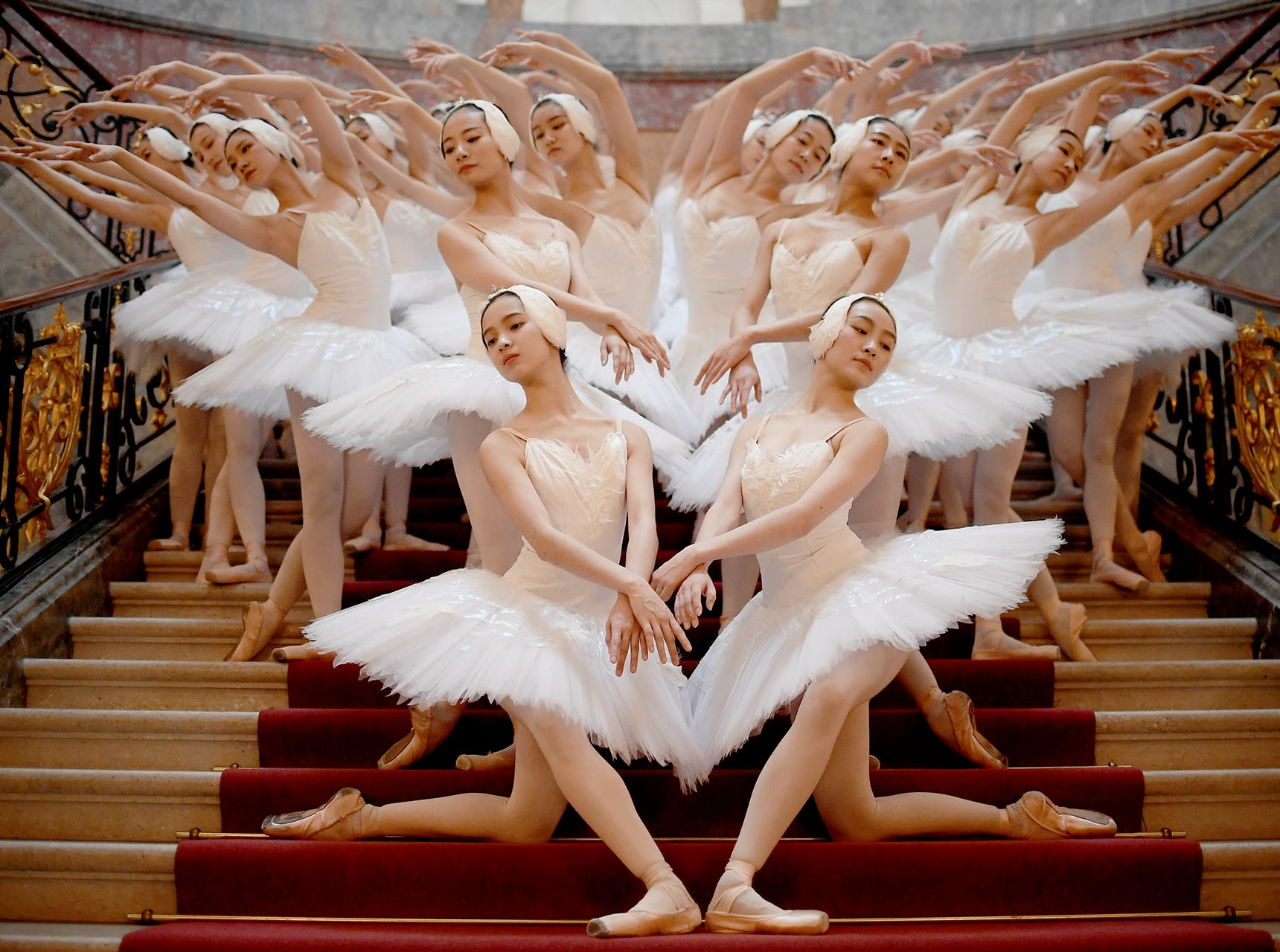 Dancers of the Shanghai Ballet perform  at the Bode museum in Berlin on November 29, 2018. The German premiere takes place on December 1, 2018.