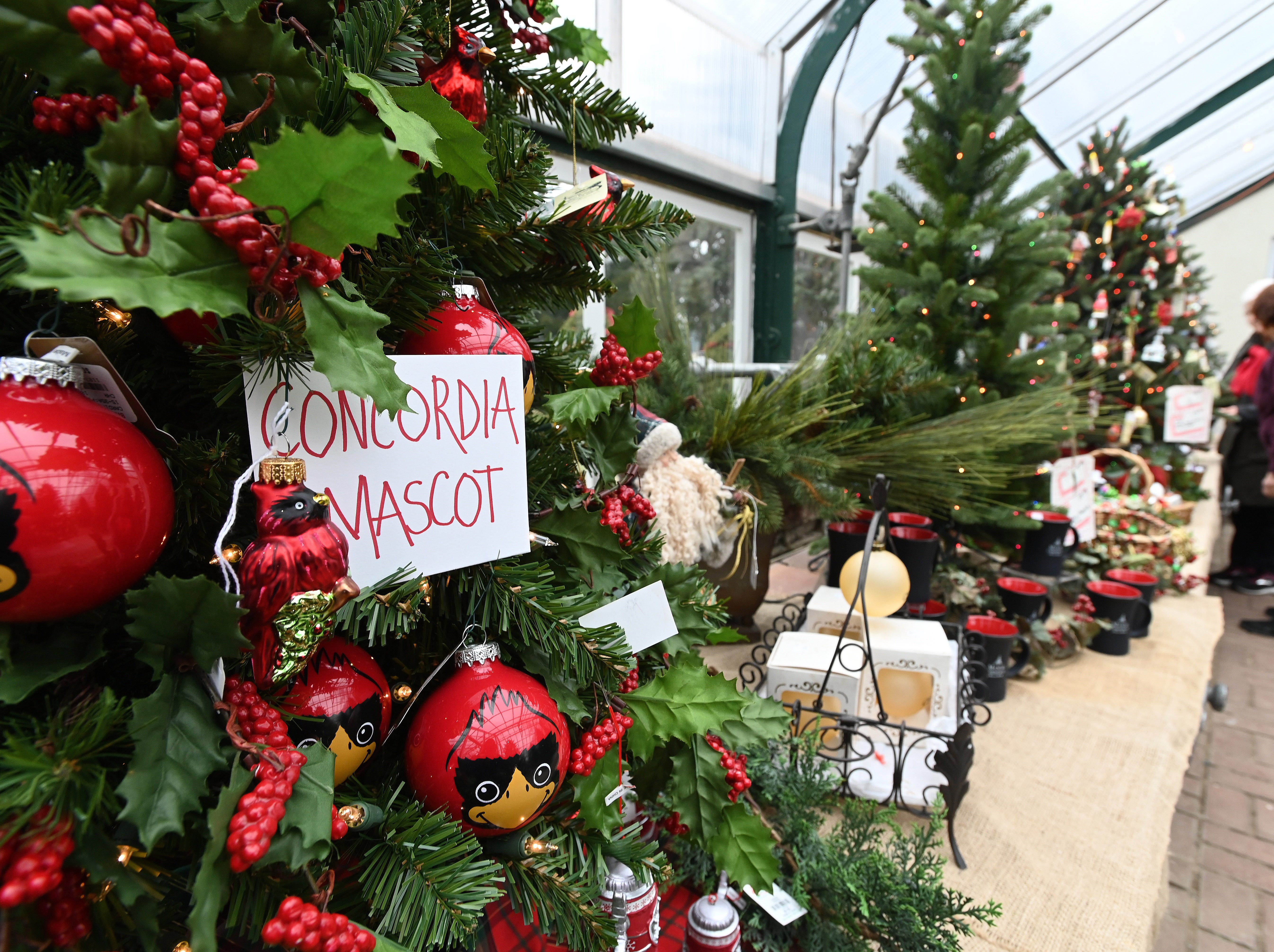 This tree, decked out in cardinals and the colors of Concordia University Athletics is on display in the greenhouses at Earhart Manor on the school's campus in Ann Arbor. For more information about this weekend's tour,  go to https://www.cuaa.edu