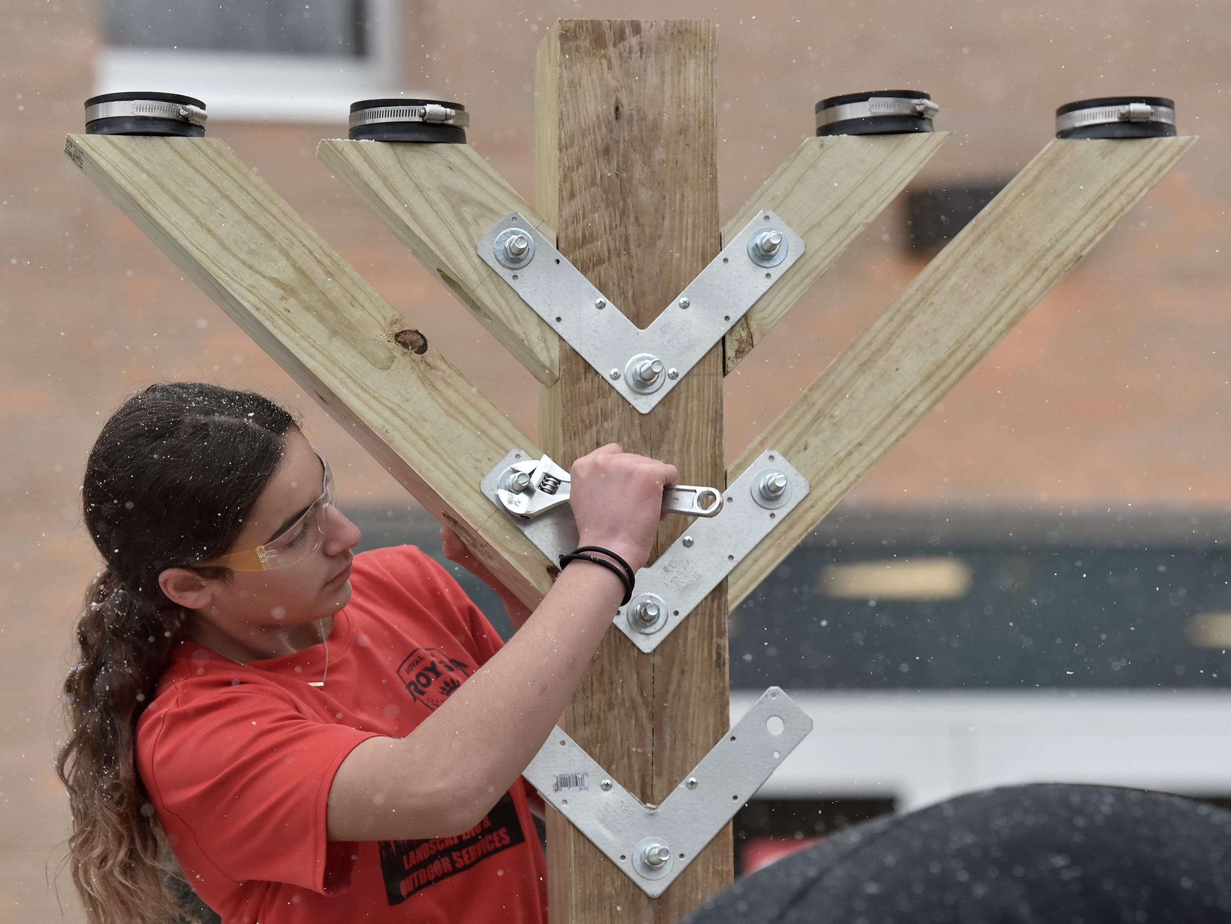 Erica Fischman of Southfield attaches branches to the parade-float menorah.