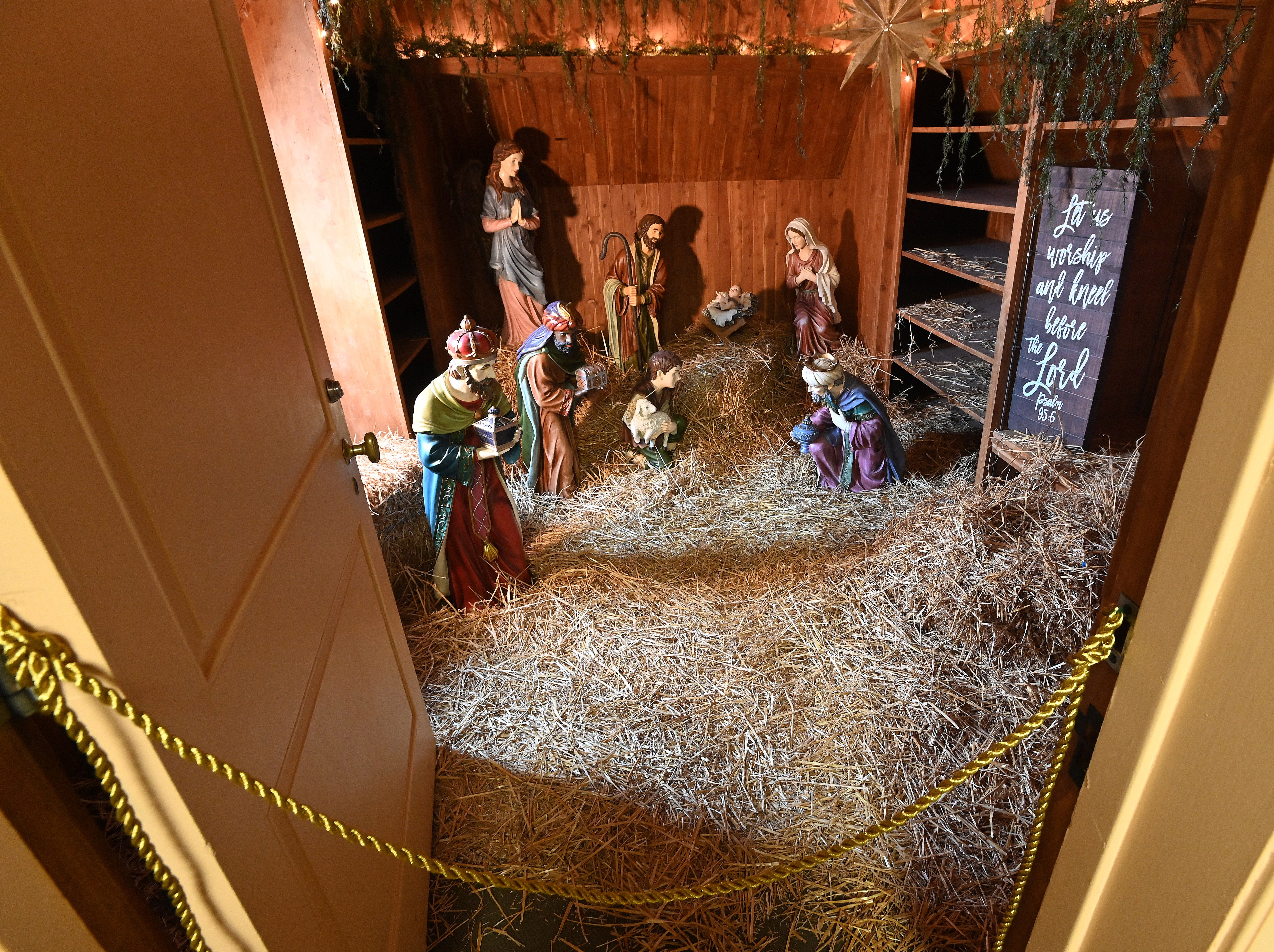 The third floor cedar closet houses a large nativity scene, complete with straw.