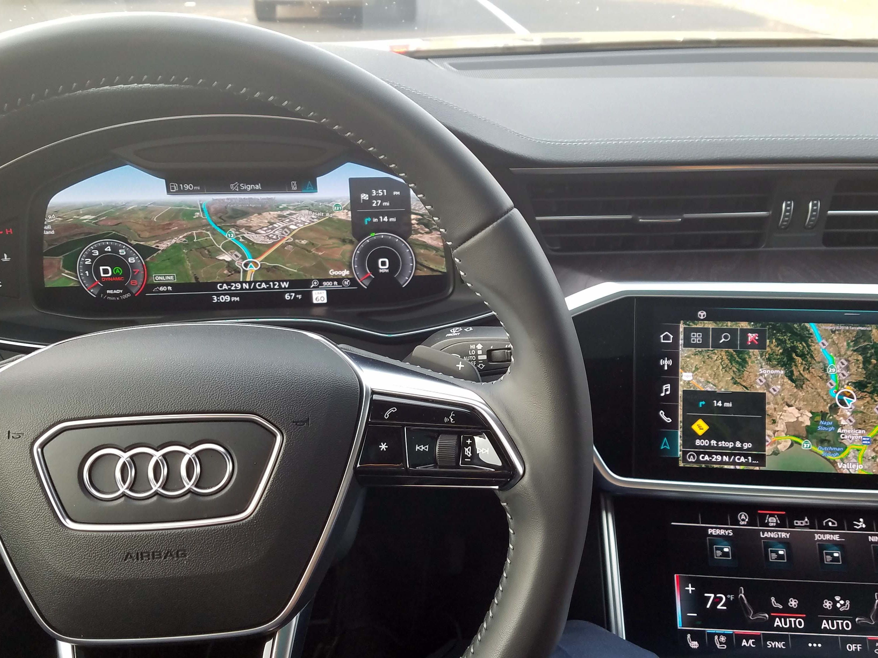The 2019 Audi A7 complements its already dramatic, Virtual Cockpit instrument display with two large touchscreens in the console. The upper controls infotainment and navigation, and the lower controls climate and other functions.