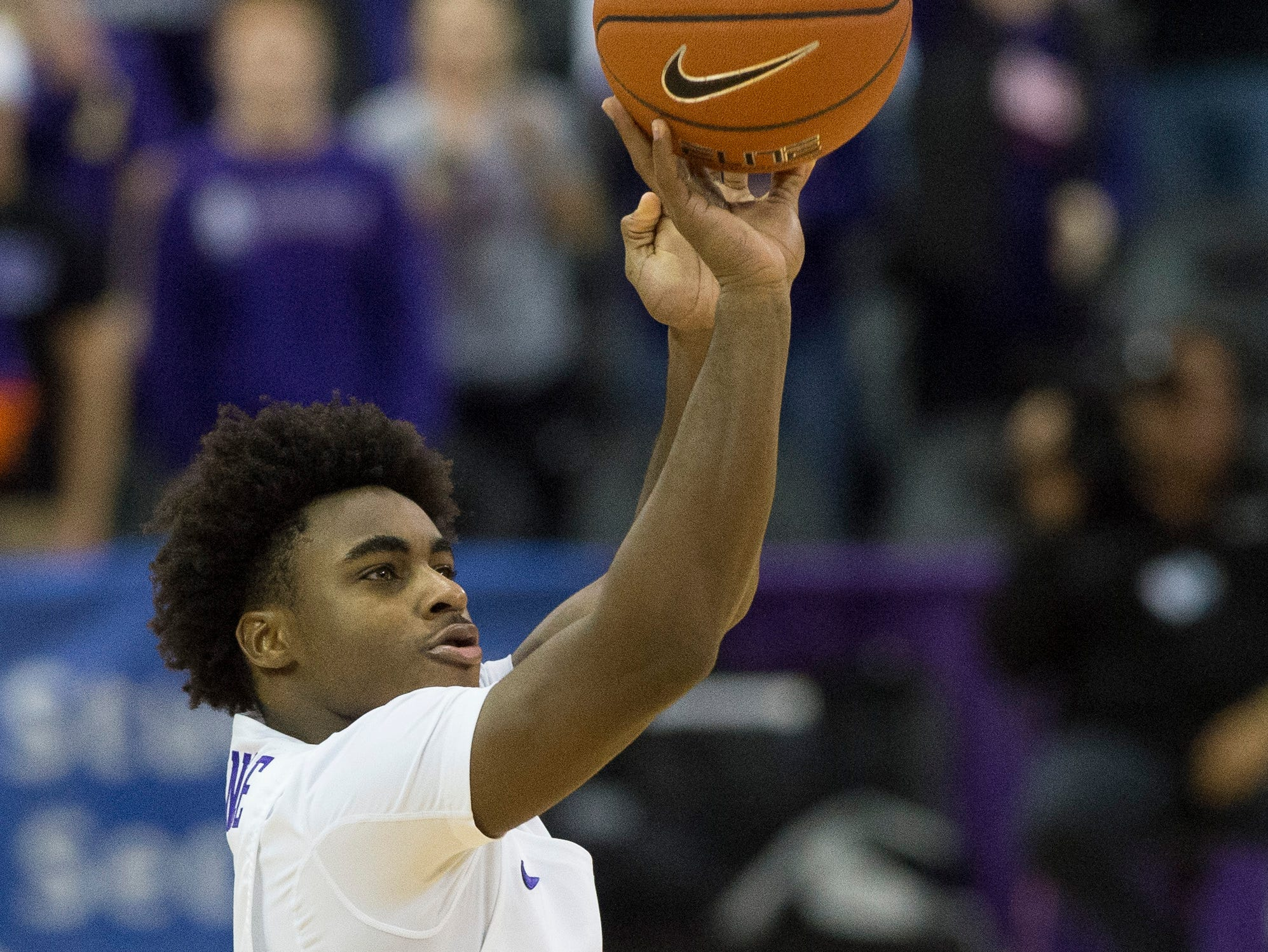 UE's Shamar Givance (5) takes a shot during the UE vs Wyoming game at the Ford Center Wednesday, Nov. 28, 2018. UE won 86-76.