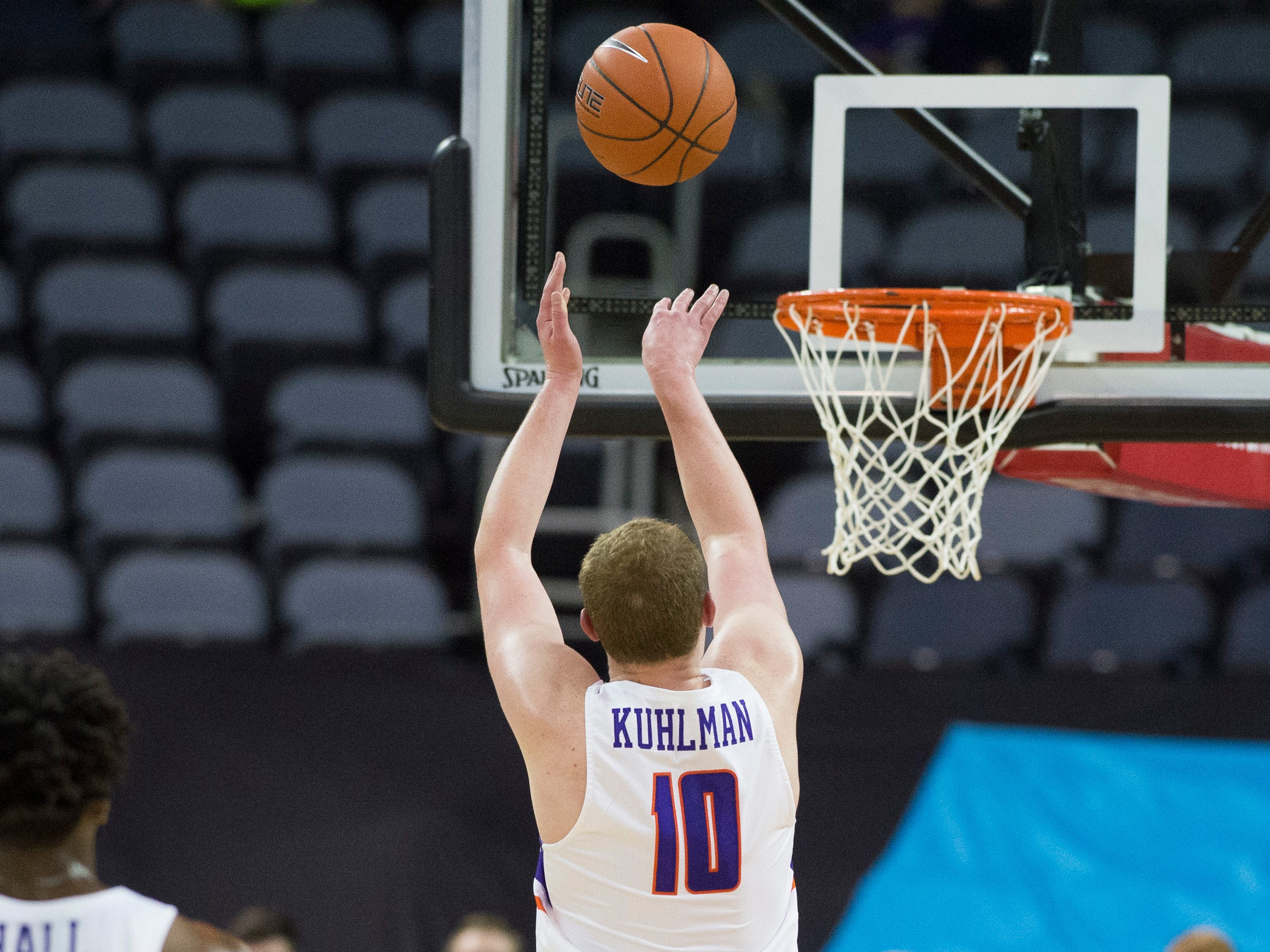 UE's Evan Kuhlman (10) fires off a shot during the UE vs Wyoming game at the Ford Center Wednesday, Nov. 28, 2018. UE won 86-76.