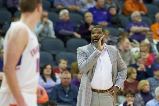 UE Head Coach Walter McCarty calls out to UE's Evan Kuhlman (10) during the UE vs Wyoming game at the Ford Center Wednesday, Nov. 28, 2018. UE won 86-76.