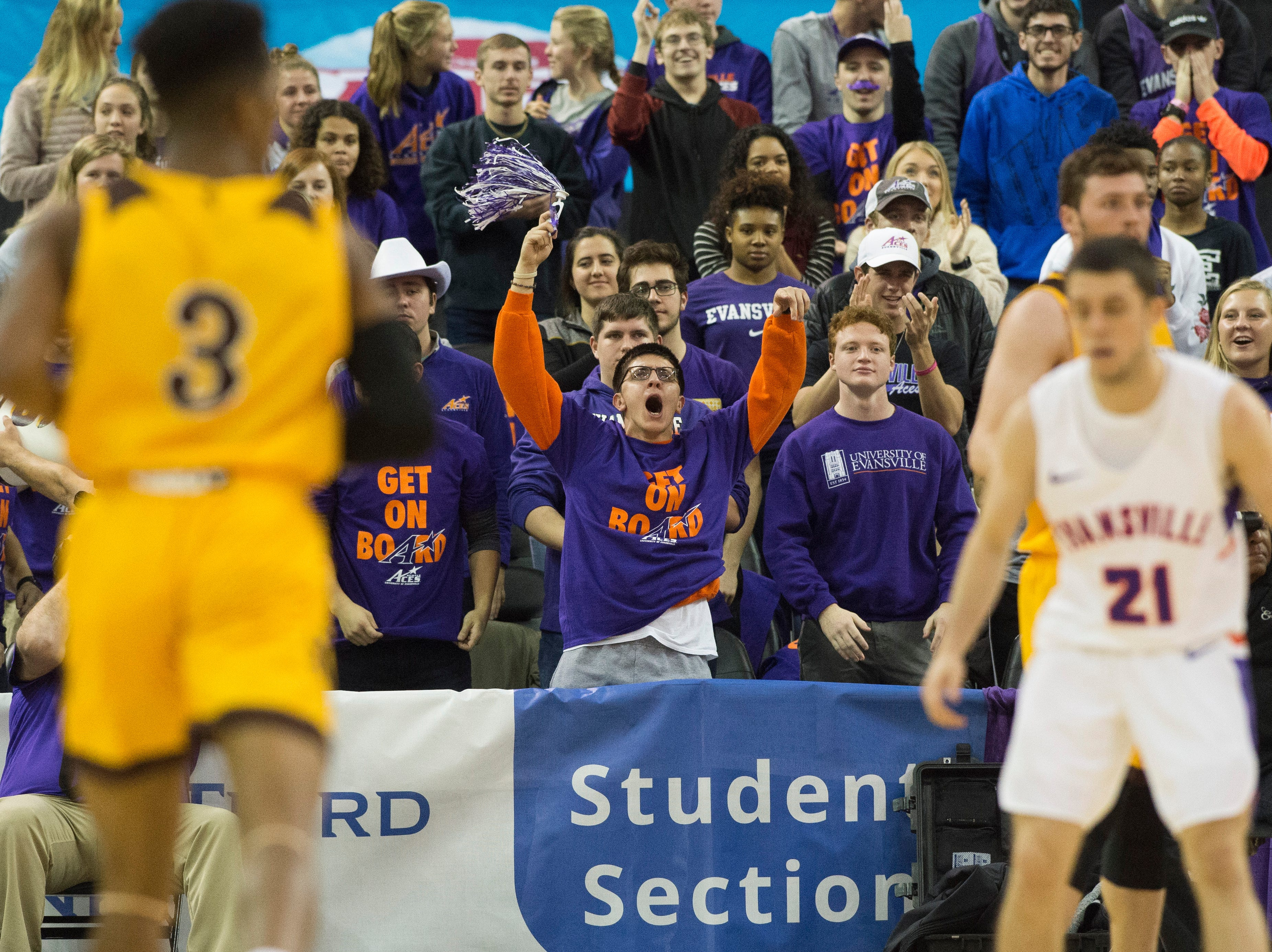 The student section cheers in the second half during the UE vs Wyoming game at the Ford Center Wednesday, Nov. 28, 2018. UE won 86-76.