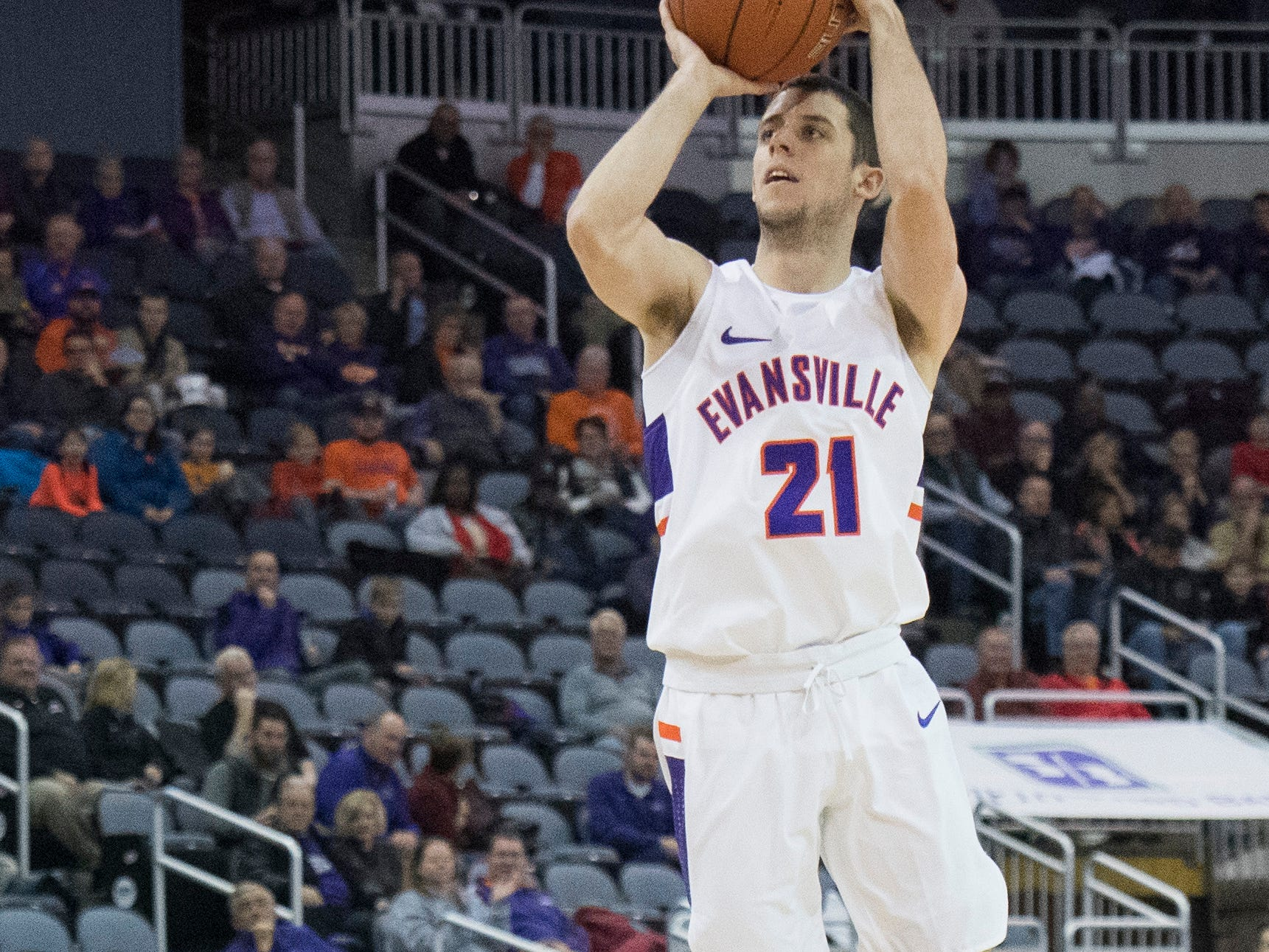 UE's Shea Feehan (21) takes a jump shot during the UE vs Wyoming game at the Ford Center Wednesday, Nov. 28, 2018. UE won 86-76.