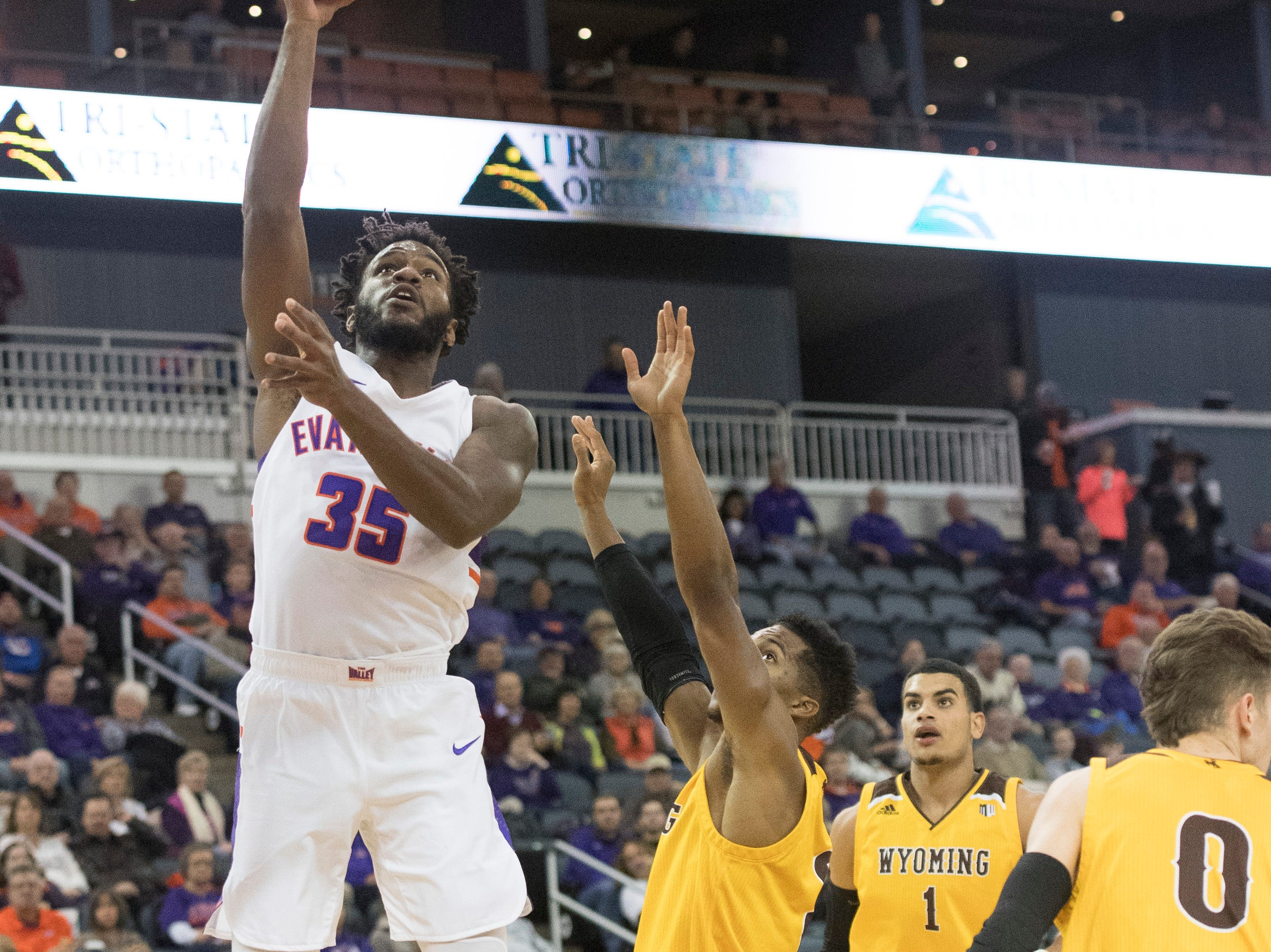 UE's John Hall (35) reaches for the basket during the UE vs Wyoming game at the Ford Center Wednesday, Nov. 28, 2018. UE won 86-76.