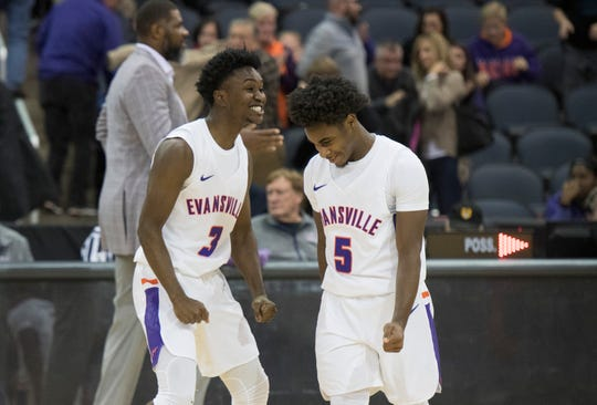 UE's Jawaun Newton (3) celebrates with Shamar Givance (5) after the 86-76 victory over Wyoming at the Ford Center Wednesday, Nov. 28, 2018.