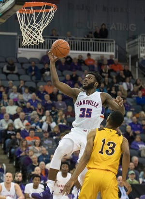 Evansville's John Hall (35) flies towards the basket during the Wyoming game at the Ford Center Wednesday, Nov. 28, 2018. UE won 86-76.