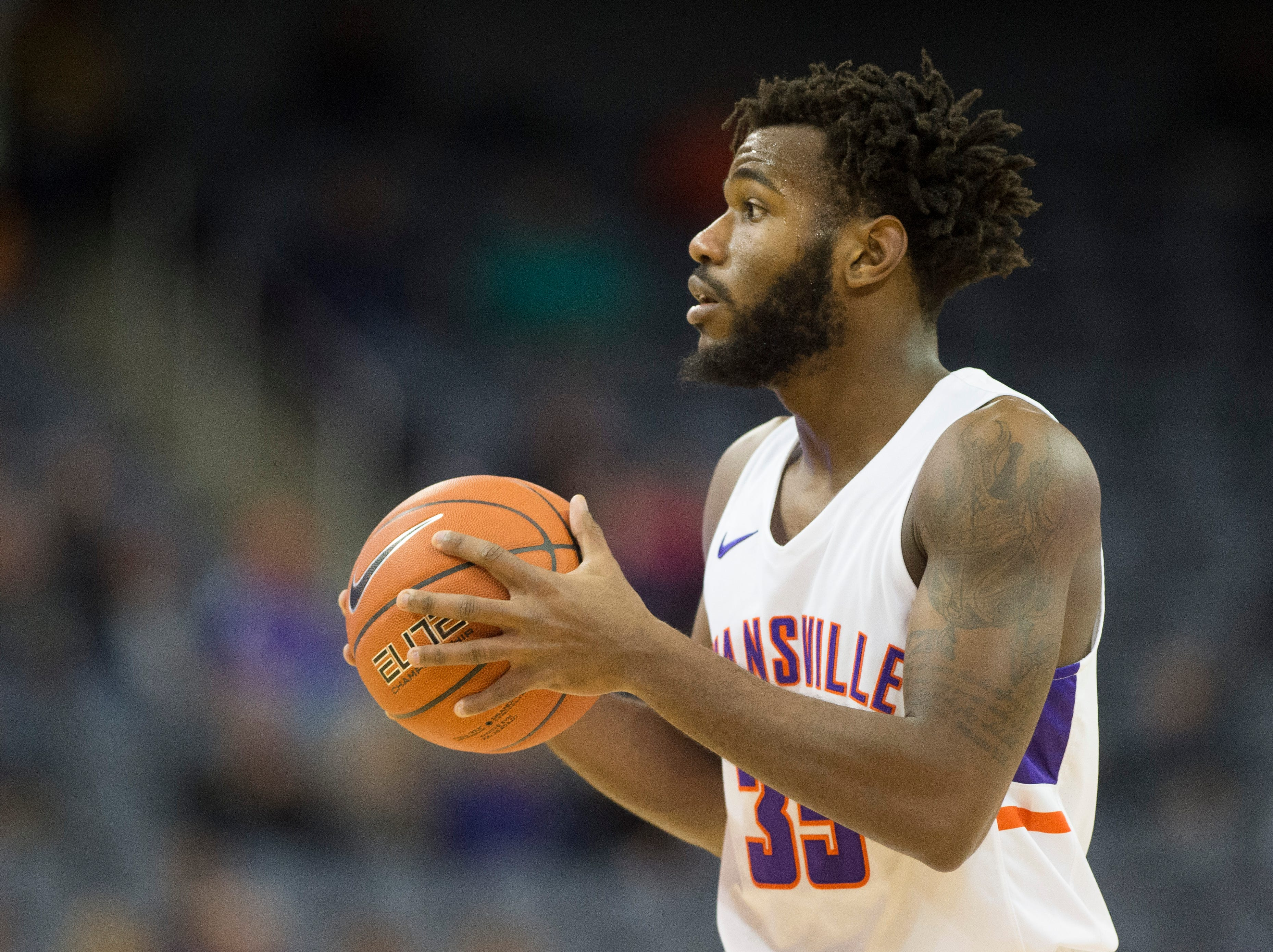 UE's John Hall (35) looks to pass the ball during the UE vs Wyoming game at the Ford Center Wednesday, Nov. 28, 2018. UE won 86-76.