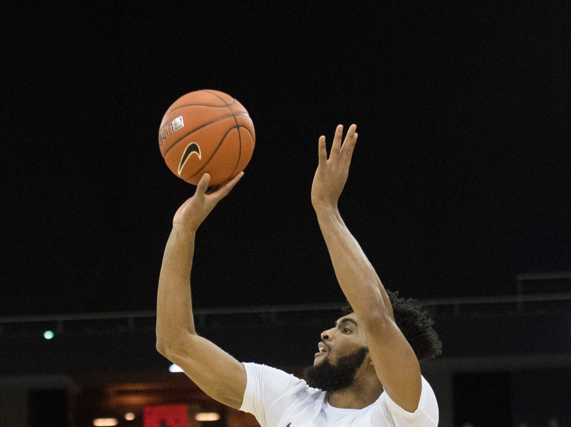 UE's K.J. Riley (33) takes a shot during the UE vs Wyoming game at the Ford Center Wednesday, Nov. 28, 2018. UE won 86-76.