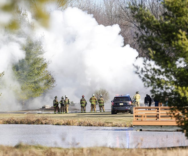 Firefighters work the scene of a structure fire Nov. 28, 2018 at N9571 Townline Road.