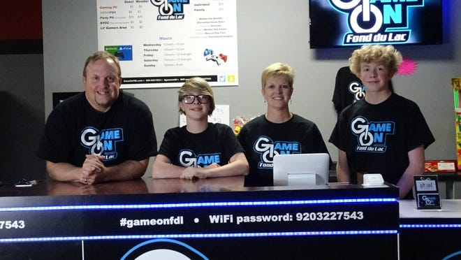 The Luedtke family opened Game On Fond du Lac at 319 Winnebago Drive in October. Pictured are, from left, Tim, Brock, Melissa and Steele Luedtke.