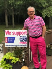 Tim Ellenberger participated in the American Cancer Society's Real Men Wear Pink campaign in October.