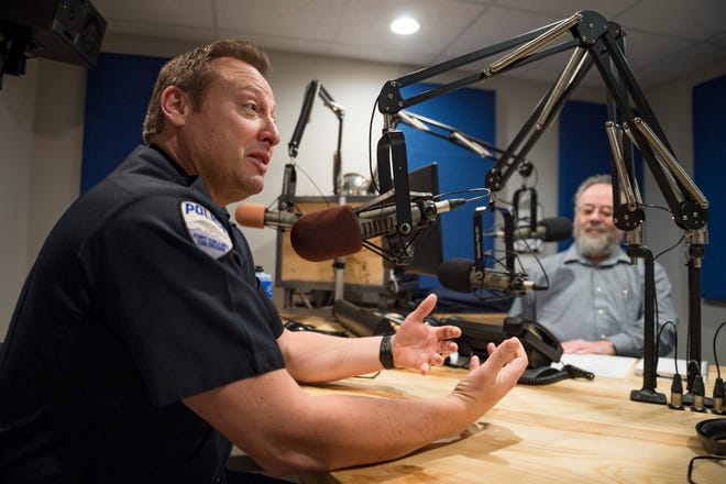 Fort Collins Police Chief Jeffrey Swoboda takes questions from hosts Rabbi Hillel Katzir and Reverend Joseph Moore on the Faith in Progress radio show at the KRFC 88.9 FM studios on Thursday, November 29, 2018. Swoboda, previously chief in Elgin, Illinois, has been in the position for six months.