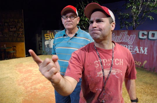 "Greg Longenhagen, right, with Mark Chambers in a scene from Florida Rep's ""Rounding Third,"" part of the theater's 2006-2007 season."
