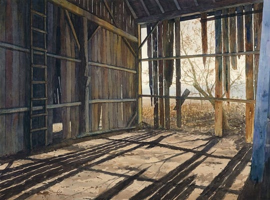 "Artist Matt Kapinos received the Gerhard Miller Award of Excellence for his watercolor painting, titled ""Obsolescence."""