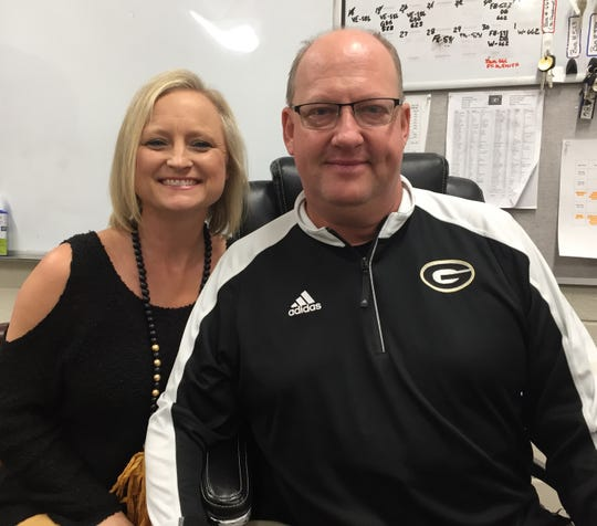 "Greer High's Travis Perry said Jennie, his wife of 22 years, has been his ""best angel."""