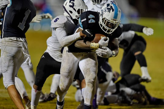 Junior Malory Pinkney (44) has averaged 130 yards rushing per game in the playoffs for Southside Christian, which will host Abbeville Friday in the Class AA Upper State final.
