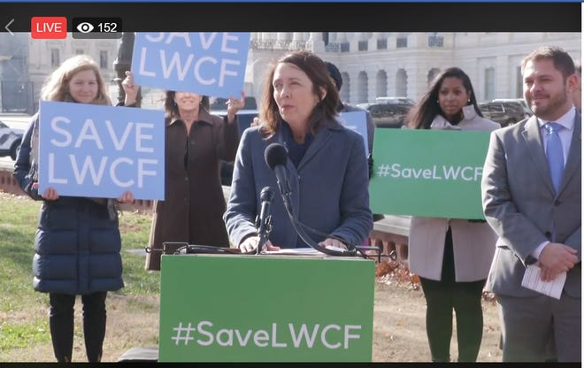 Lawmakers including Sen. Maria Cantwell, D-Wash. rallied outside of the U.S. Capitol for permanent Land and Water Conservation Funding.