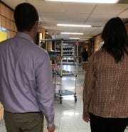 Breakfast cart delivering food to the classrooms