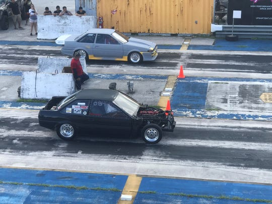 Action from the start of the drag strip in a file photo.