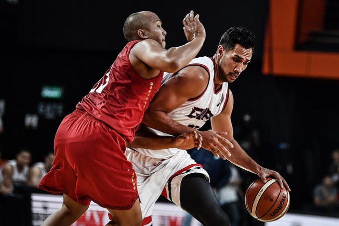 The versatile Tai Wesley, the all-everything for Team Guam thus far, in action against Indonesia Thursday night. Wesley had 19 points, 11 rebounds, 3 assists and two steals in Guam's 65-53 win.