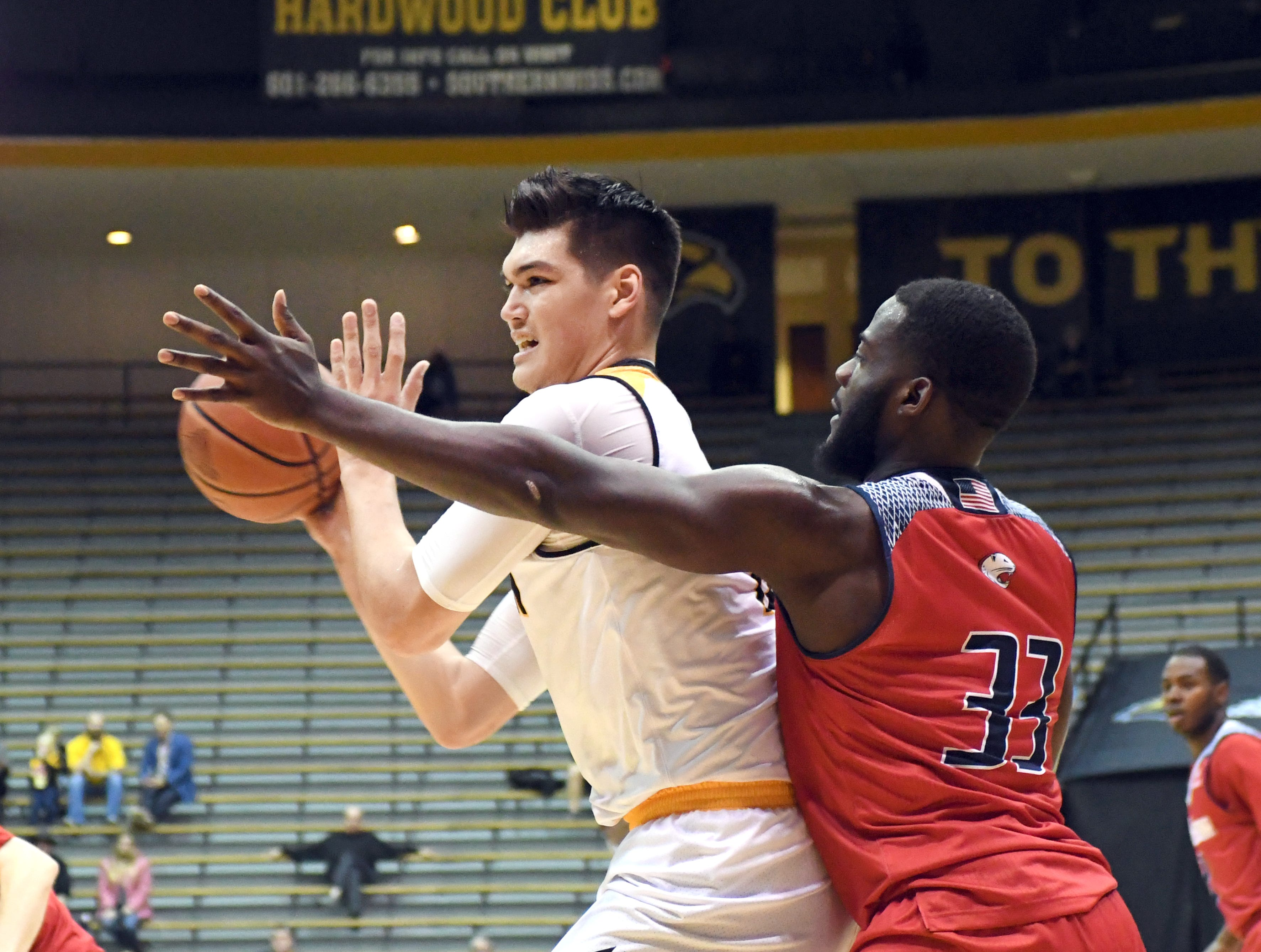 Southern Miss forward Tim Rowe fights off a defender in a game against South Alabama in Reed Green Coliseum on Wednesday, November 28, 2018.