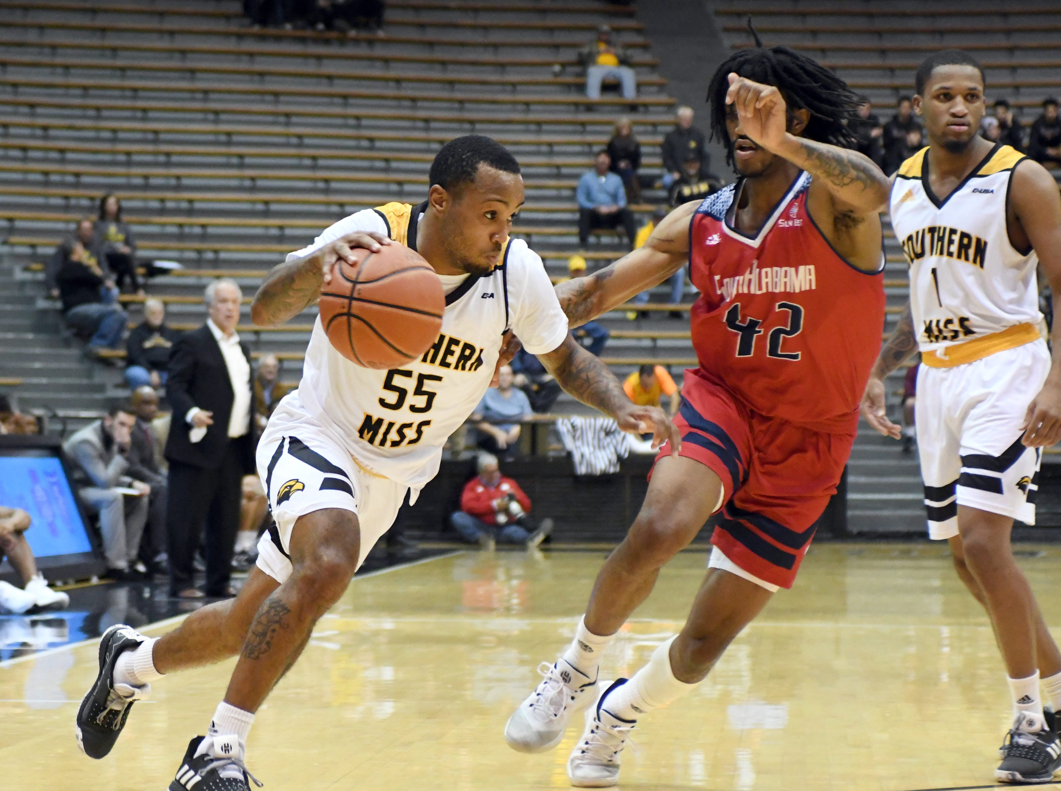 Southern Miss guard Tyree Griffin passes a defender in a game against South Alabama in Reed Green Coliseum on Wednesday, November 28, 2018.