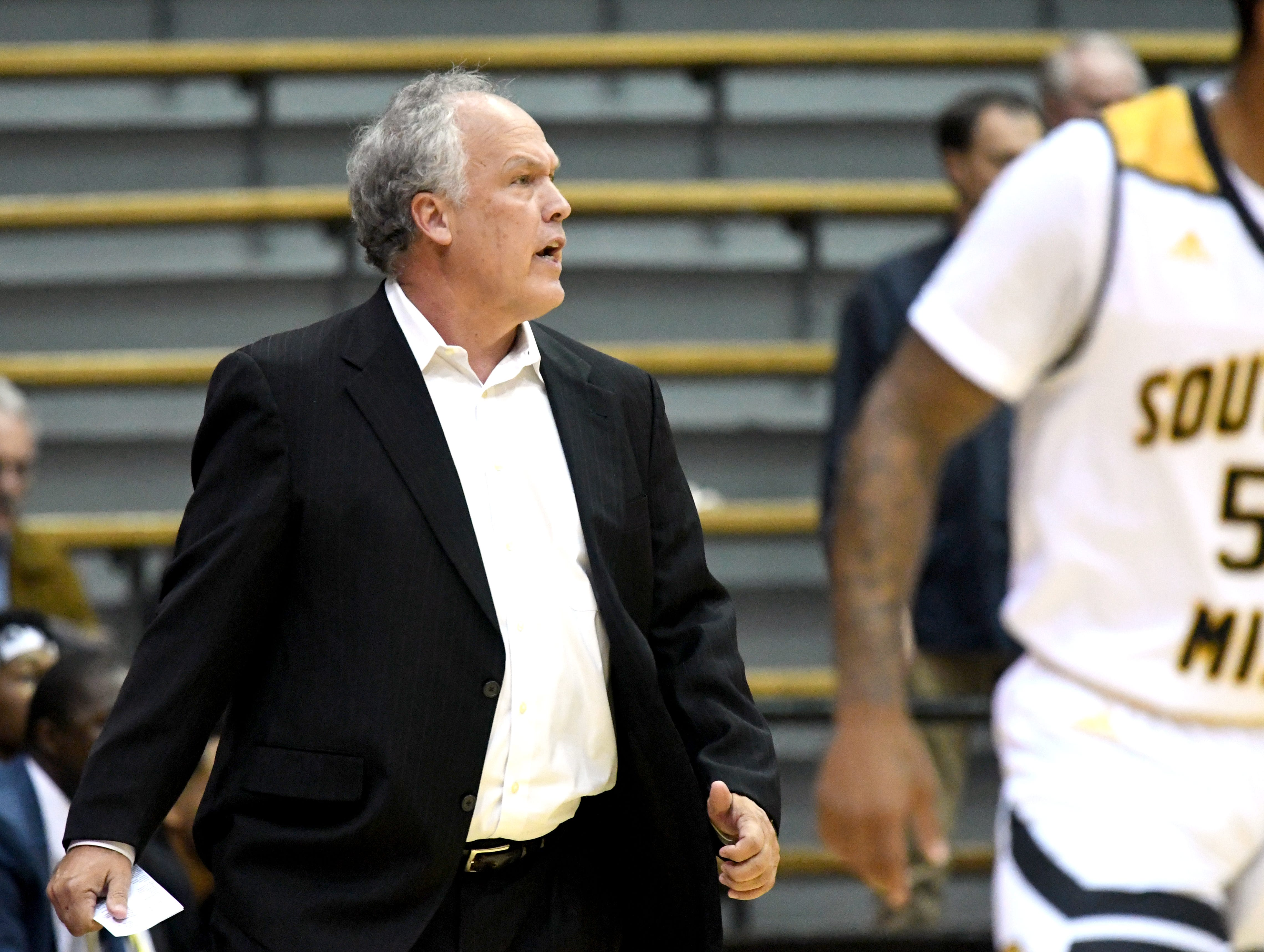 Southern Miss head coach Doc Sadler yells to his players  in a game against South Alabama in Reed Green Coliseum on Wednesday, November 28, 2018.