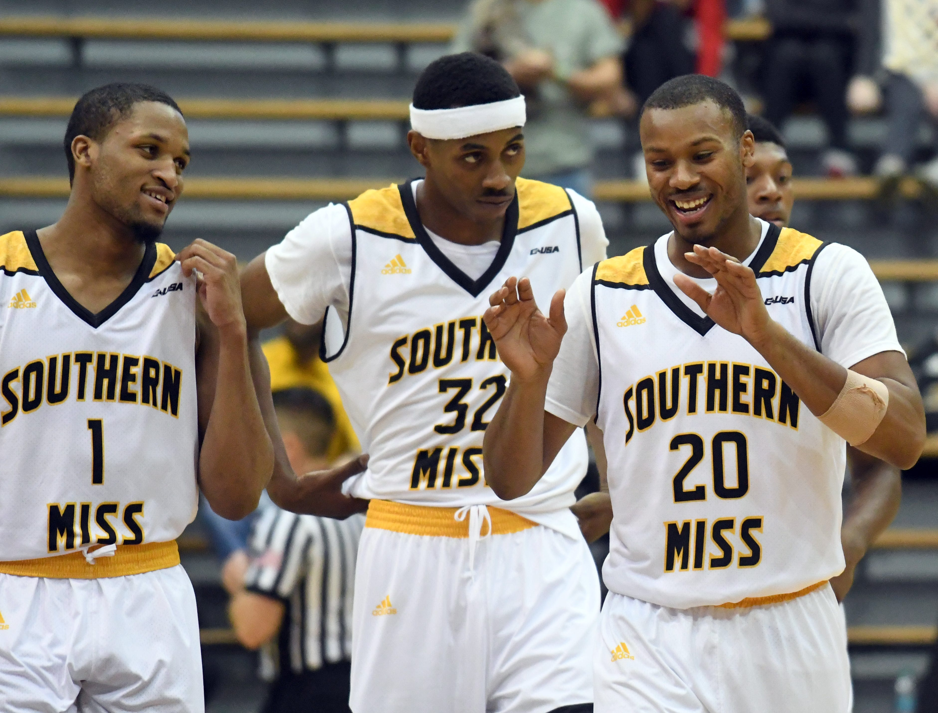 Southern Miss players celebrate after defeating South Alabama in Reed Green Coliseum on Wednesday, November 28, 2018.