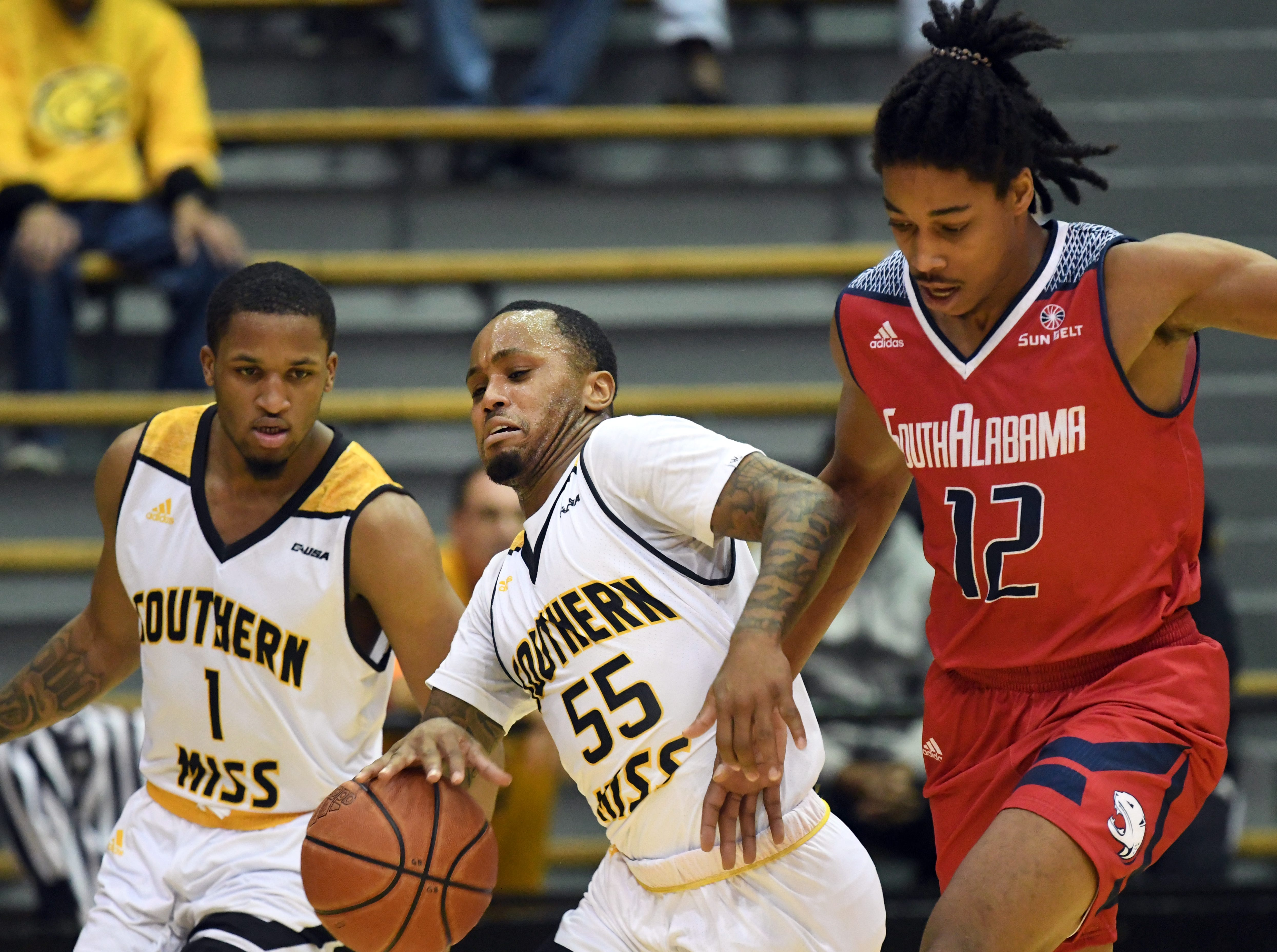 Southern Miss guard Tyree Griffin takes control of the ball in a game against South Alabama in Reed Green Coliseum on Wednesday, November 28, 2018.